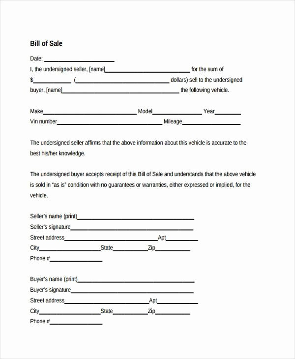 Free Bill Of Sale Contract New 38 Sample Free Contract forms