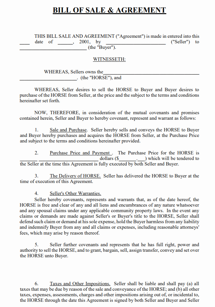 Free Bill Of Sale Contract New Free California Horse Bill Of Sale & Agreement Template