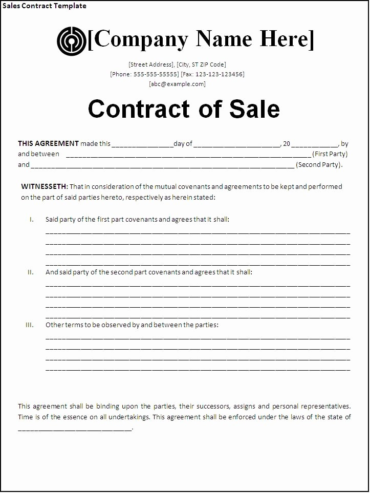 Free Bill Of Sale Contract New Sales Contract Template