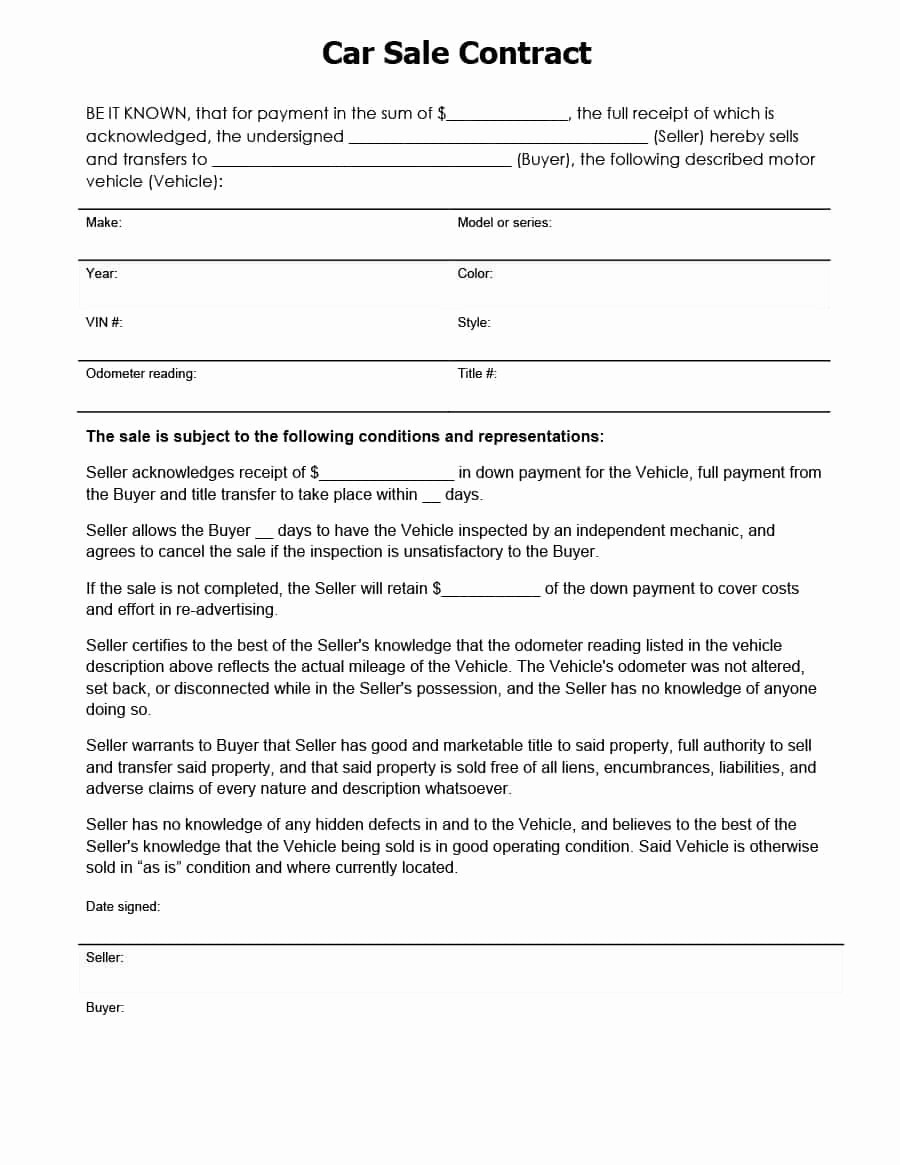 Free Bill Of Sale Contract Unique 42 Printable Vehicle Purchase Agreement Templates