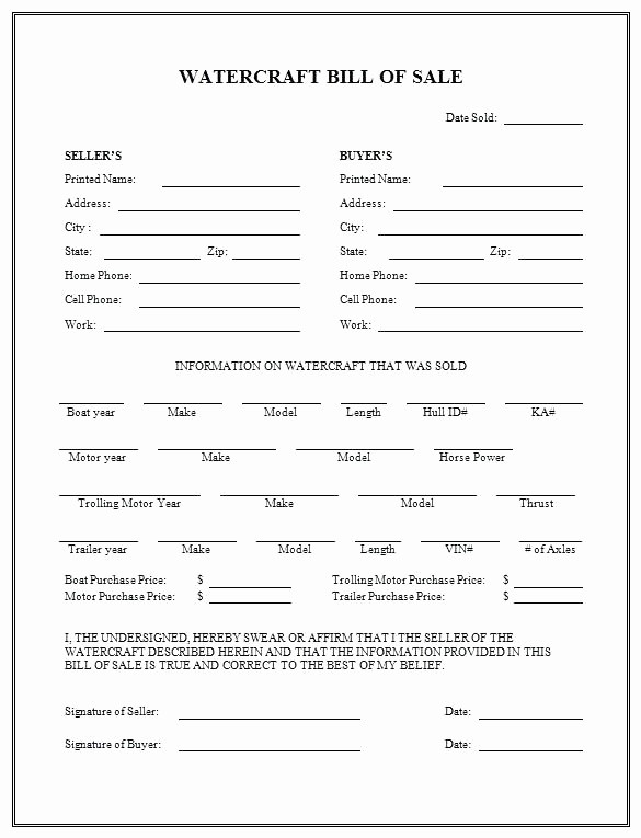 Free Bill Of Sale Contract Unique Boat Purchase Agreement Template Bill Sale form