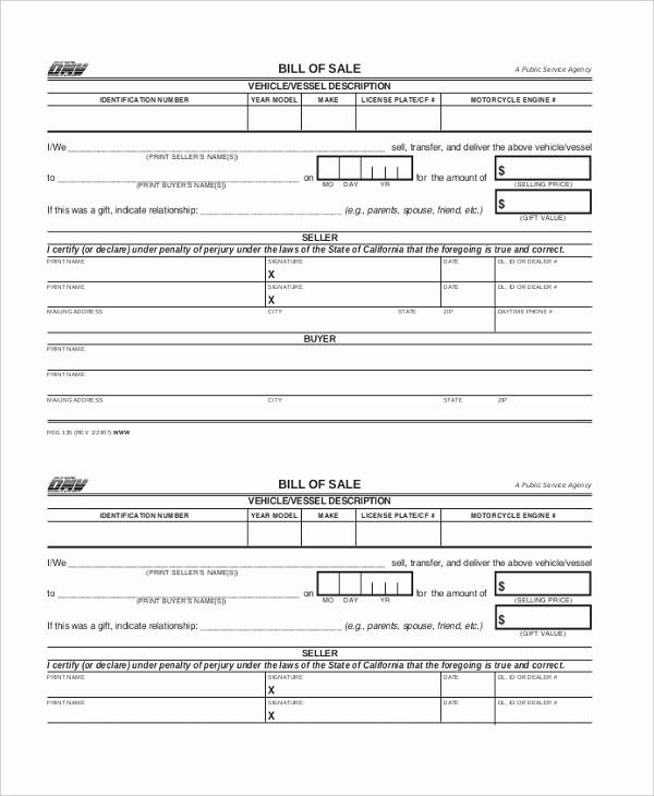 Free Bill Of Sale Dmv Beautiful Sample Dmv Bill Of Sale forms 8 Free Documents In Pdf