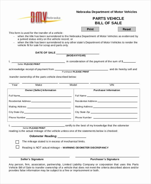 Free Bill Of Sale Dmv New Sample Dmv Bill Of Sale form 8 Free Documents In Pdf