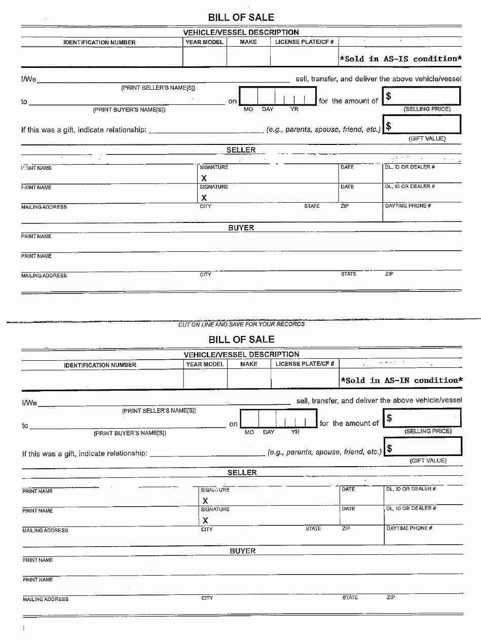 Free Bill Of Sale Dmv New Unique Free as is Vehicle Bill Sale Template