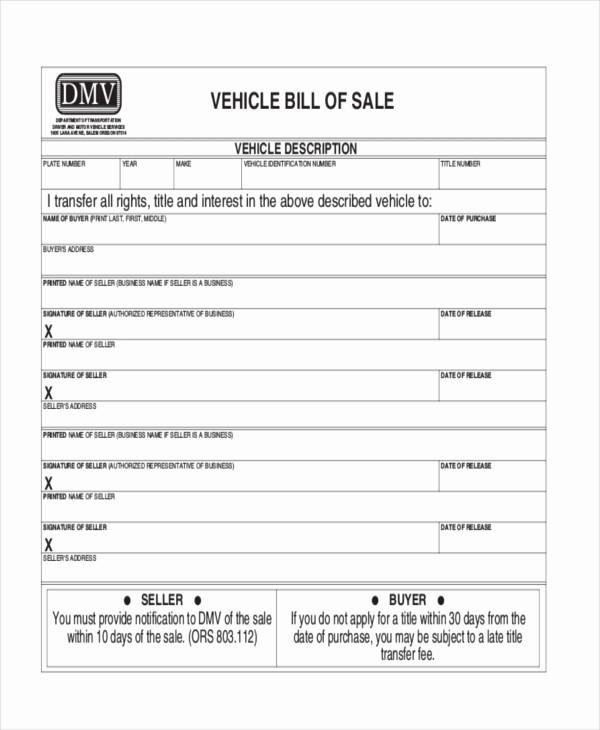 Free Bill Of Sale Dmv Unique Sample Dmv Bill Of Sale forms 8 Free Documents In Pdf