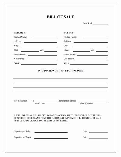Free Bill Of Sale Printable Elegant General Bill Of Sale form Free Download Create Edit