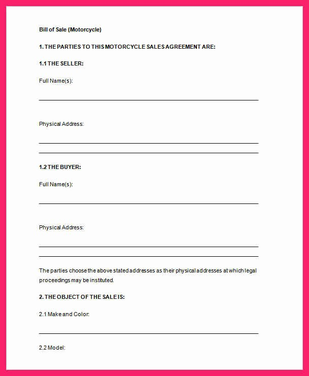Free Bill Of Sale Printable Lovely Bill Of Sale Template Word
