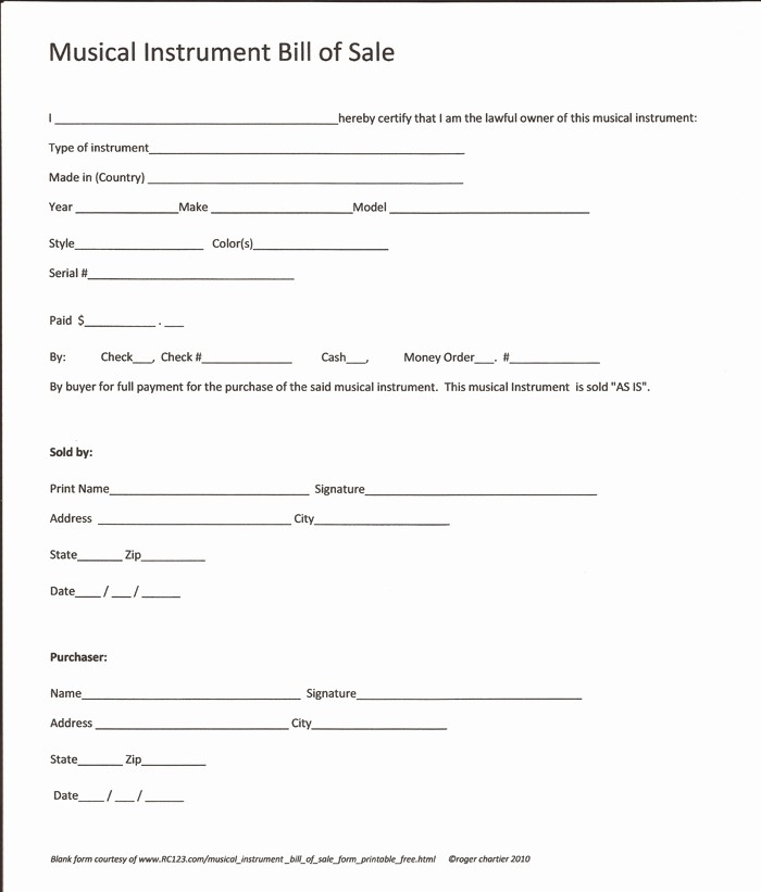 Free Bill Of Sale Printable New Free Printable Equipment Bill Sale Template form Generic