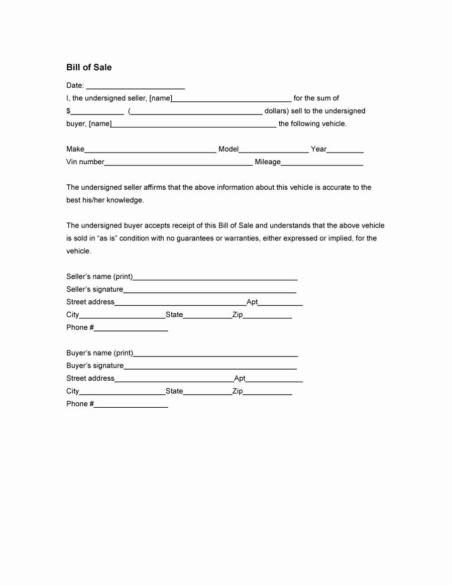 Free Bill Of Sale Templates Elegant 45 Fee Printable Bill Of Sale Templates Car Boat Gun