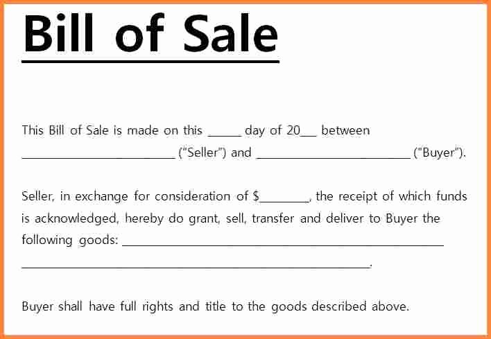Free Bill Of Sale Templates Fresh 7 Free Bill Of Sale Template Microsoft Word