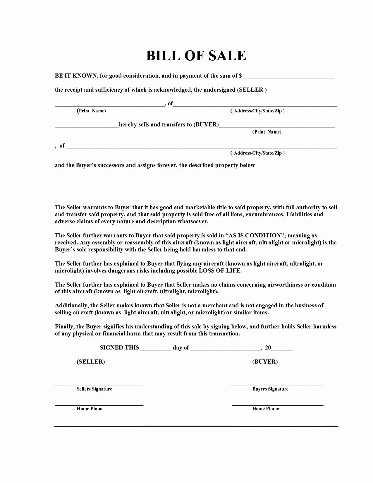 Free Bill Of Sale Templates New Free Bill Sale Template