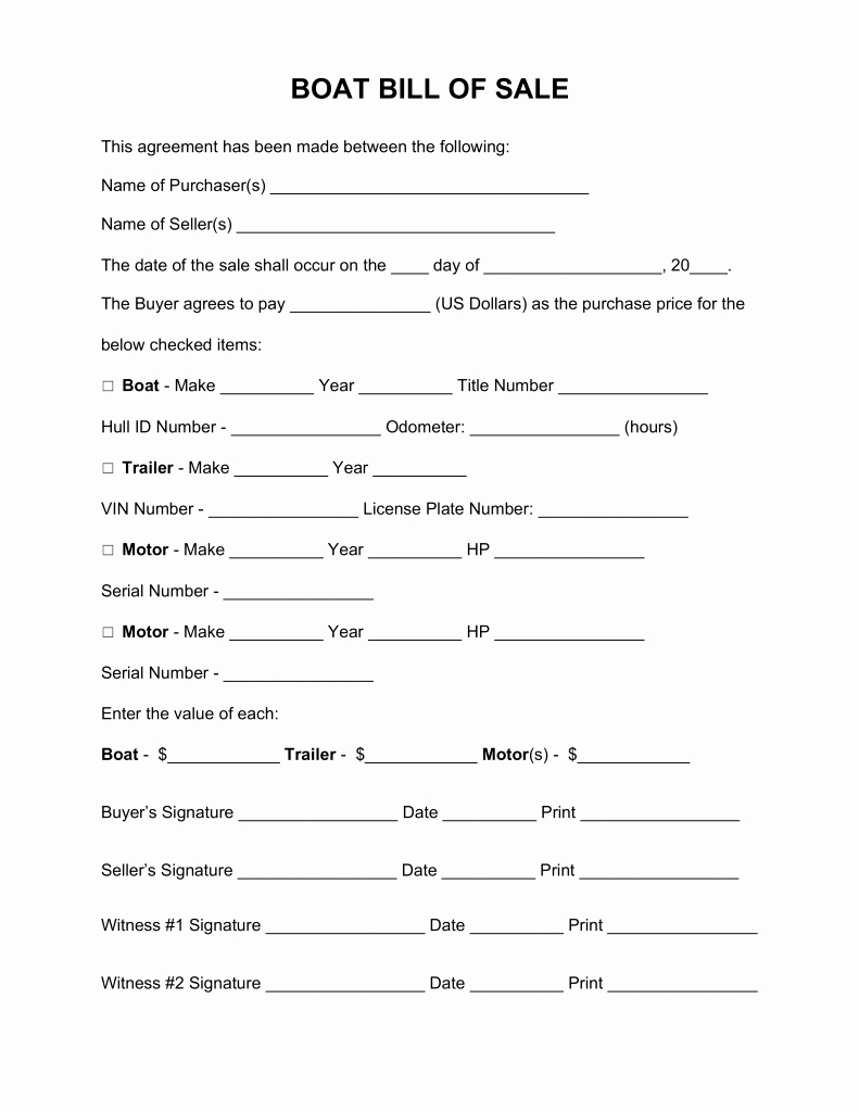 Free Bill Of Sale Templates Unique Free Boat Vessel Bill Sale form Word Pdf Eforms