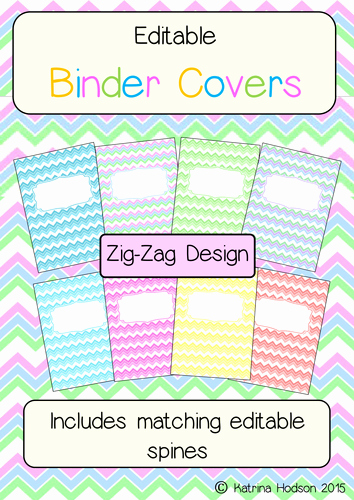 Free Binder Covers and Spines New Editable Binder Folder Covers with Spines Zig Zag