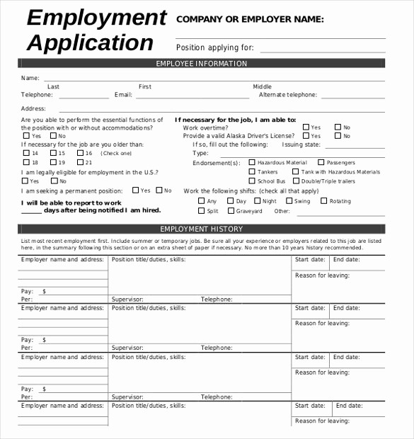 Free Blank Employment Application form Beautiful 21 Employment Application Templates Pdf Doc