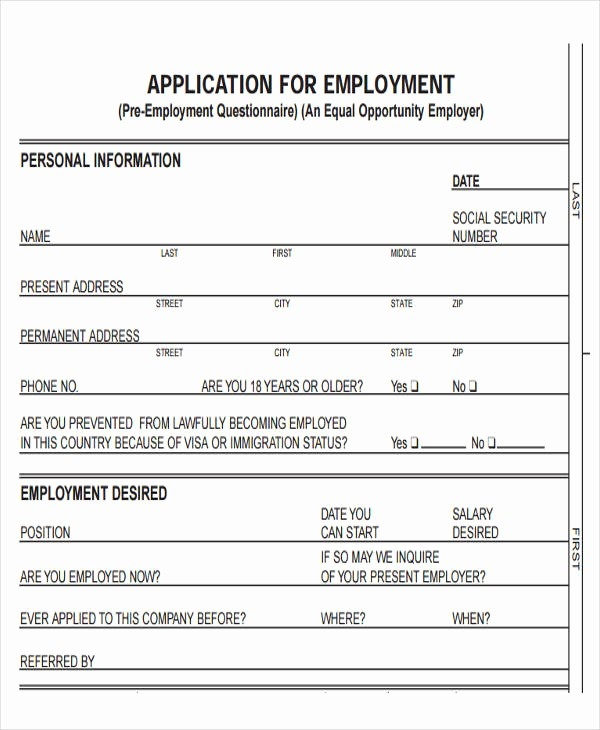 Free Blank Employment Application form Beautiful 49 Job Application form Templates