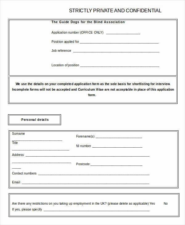 Free Blank Employment Application form Elegant Blank Job Application 8 Free Word Pdf Documents