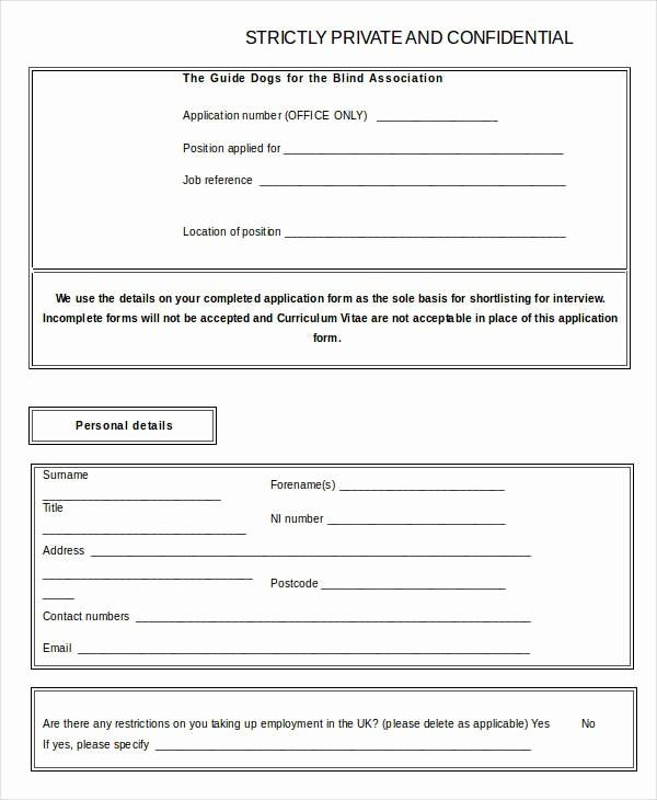 Free Blank Employment Application form Elegant Blank Job Application 8 Free Word Pdf Documents