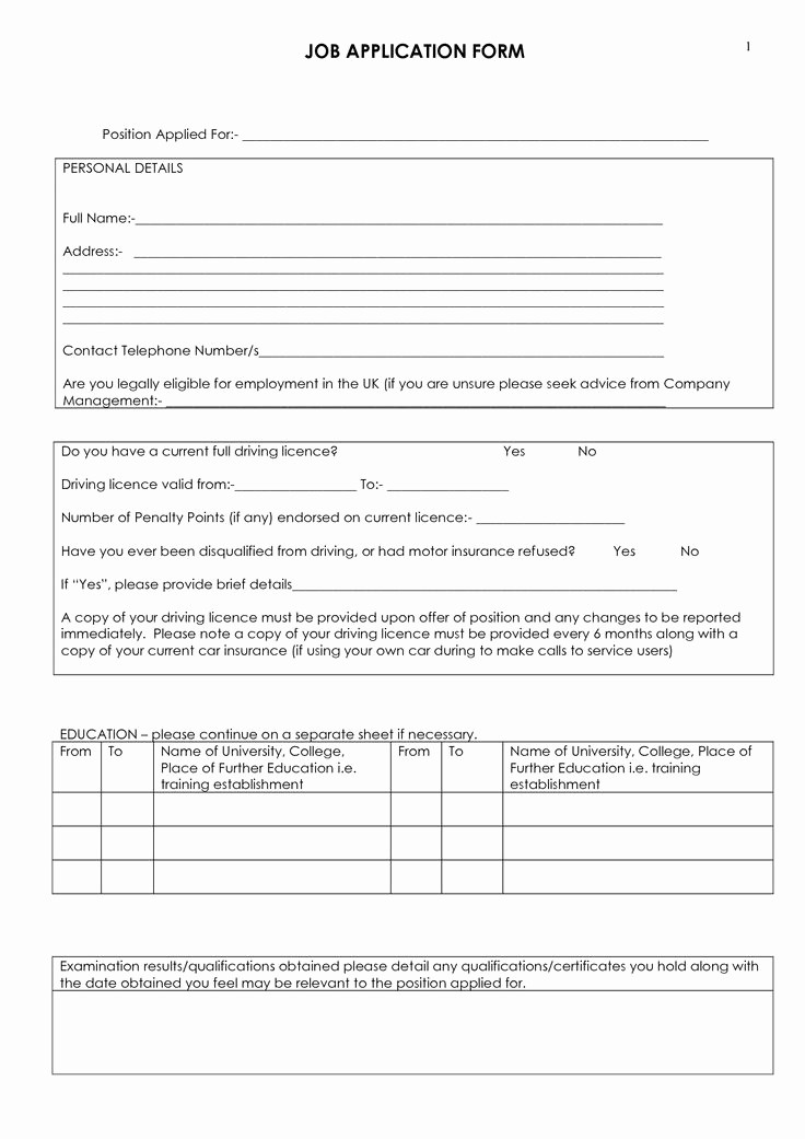 Free Blank Employment Application form Elegant Job Application form to Print