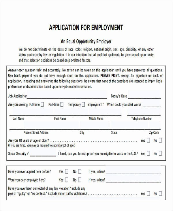 Free Blank Employment Application form Fresh 49 Job Application form Templates