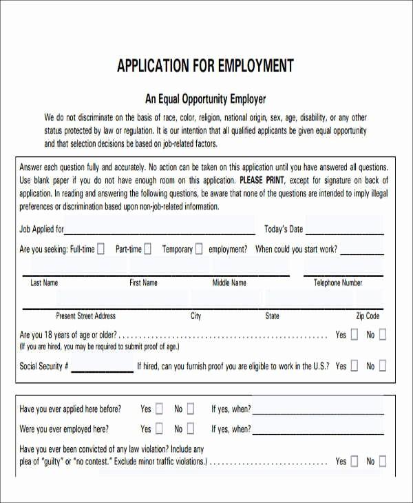 Free Blank Employment Application form Fresh 49 Job Application form Templates