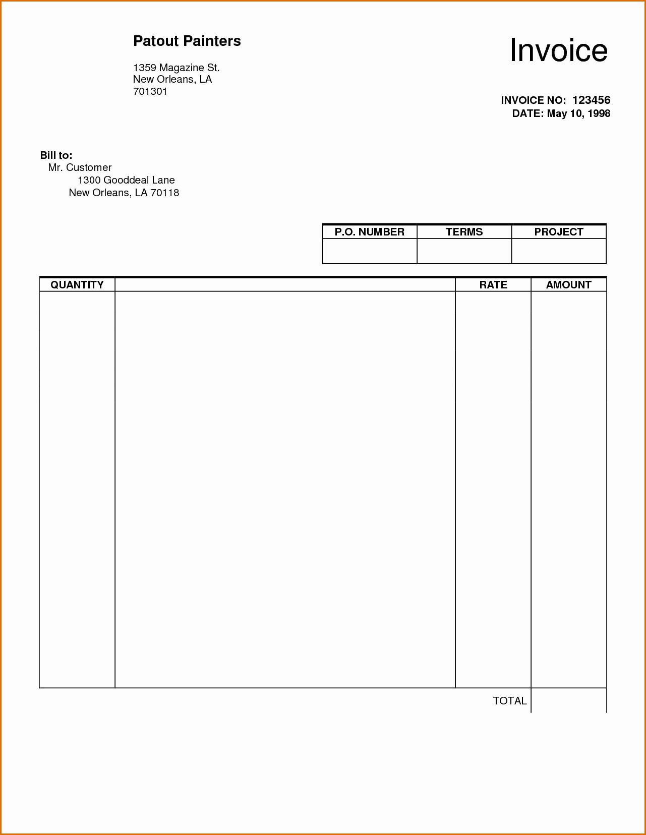 Free Blank Invoice Template Word Elegant 8 Blank Invoice Template Pdf