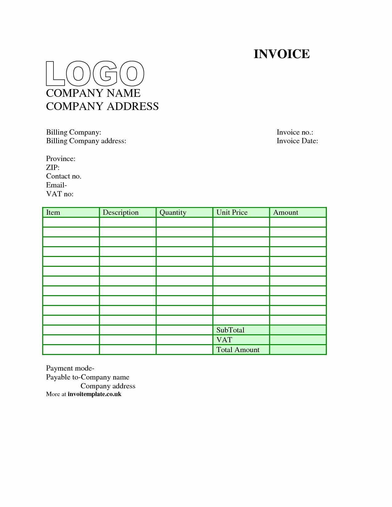 Free Blank Invoice Template Word Elegant Invoice Template Uk Word