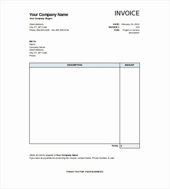 Free Blank Invoice Template Word Inspirational 31 Blank Invoice Templates Ai Psd Google Docs Apple