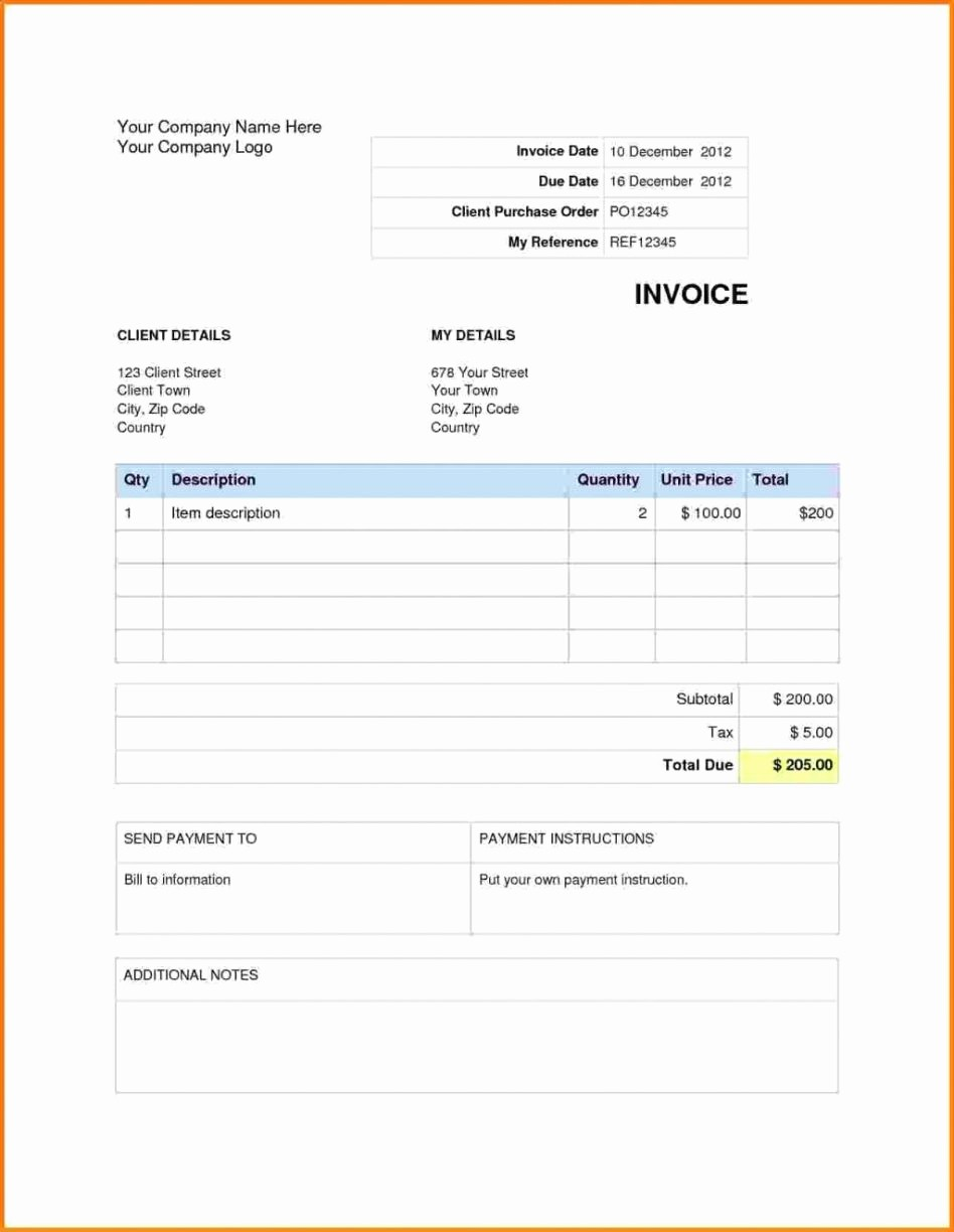 Free Blank Invoice Template Word Unique Free Blank Invoice Template Excel Gallery Professional