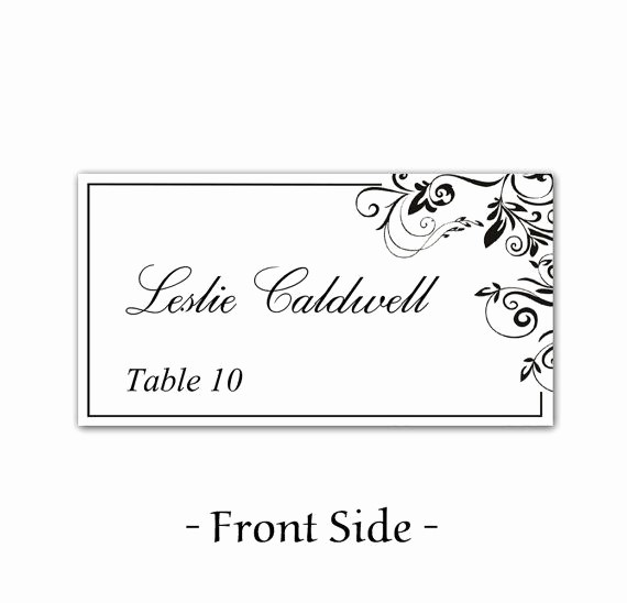 Free Blank Place Card Template Beautiful Instant Download Classic Elegance Black Leaf ornate