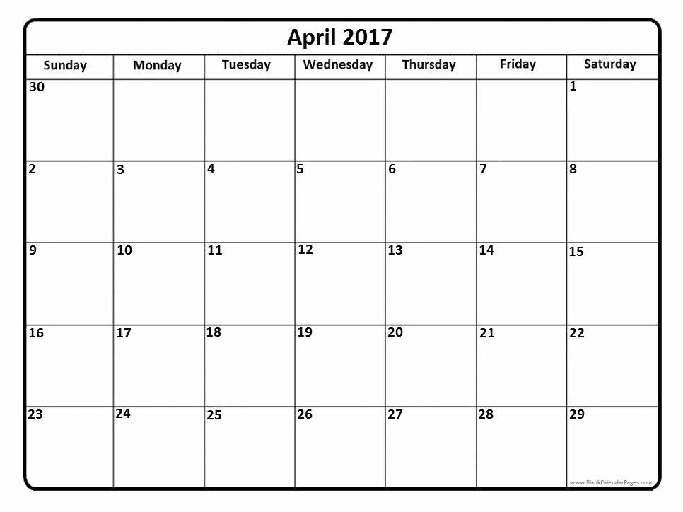 Free Blank Printable Calendar 2017 Beautiful April Calendar Templates