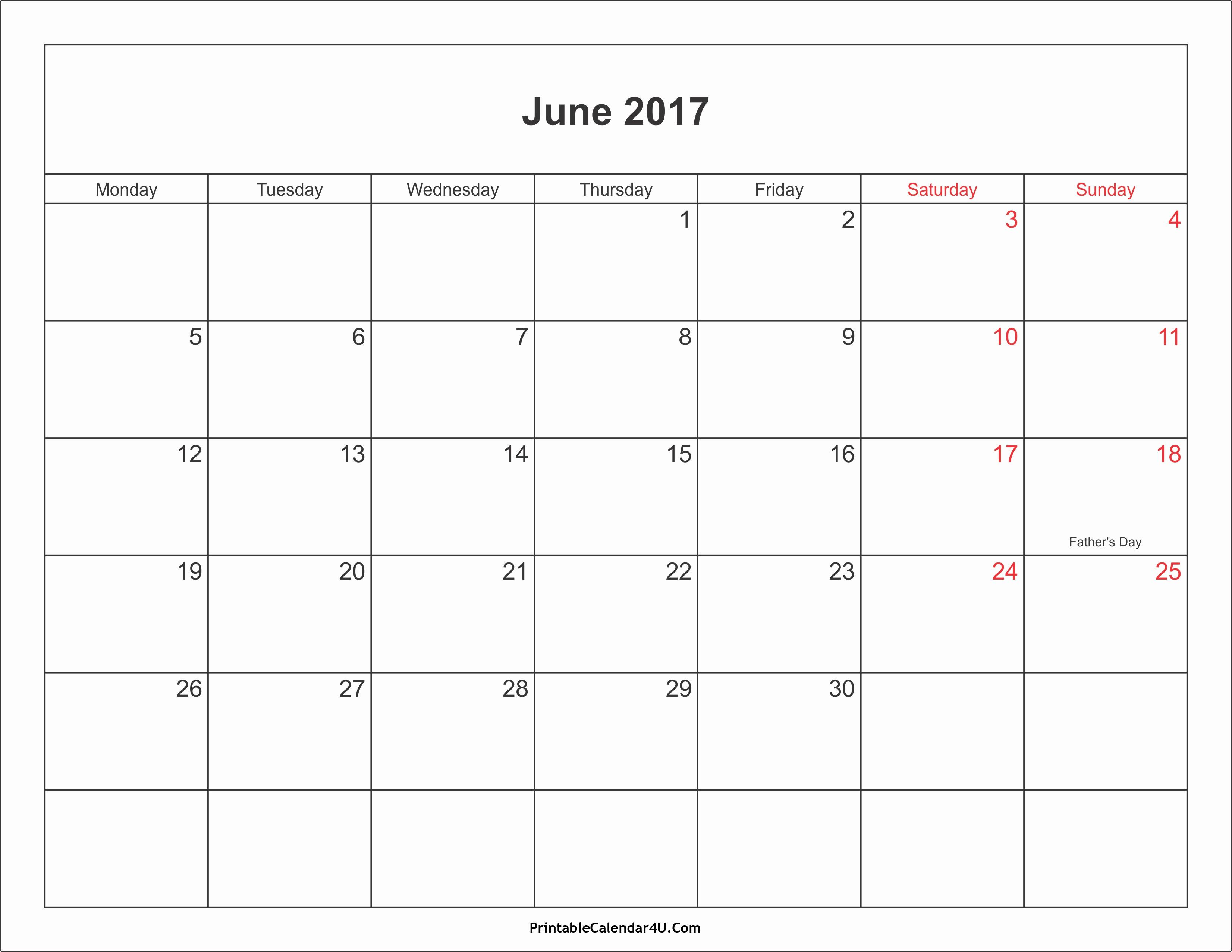 Free Blank Printable Calendar 2017 Elegant June 2017 Calendar Printable with Holidays Pdf and Jpg