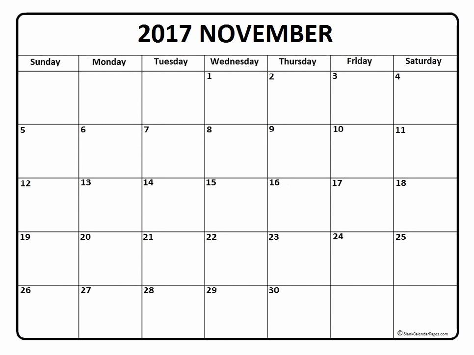 Free Blank Printable Calendar 2017 Elegant November 2017 Calendar November 2017 Calendar Printable