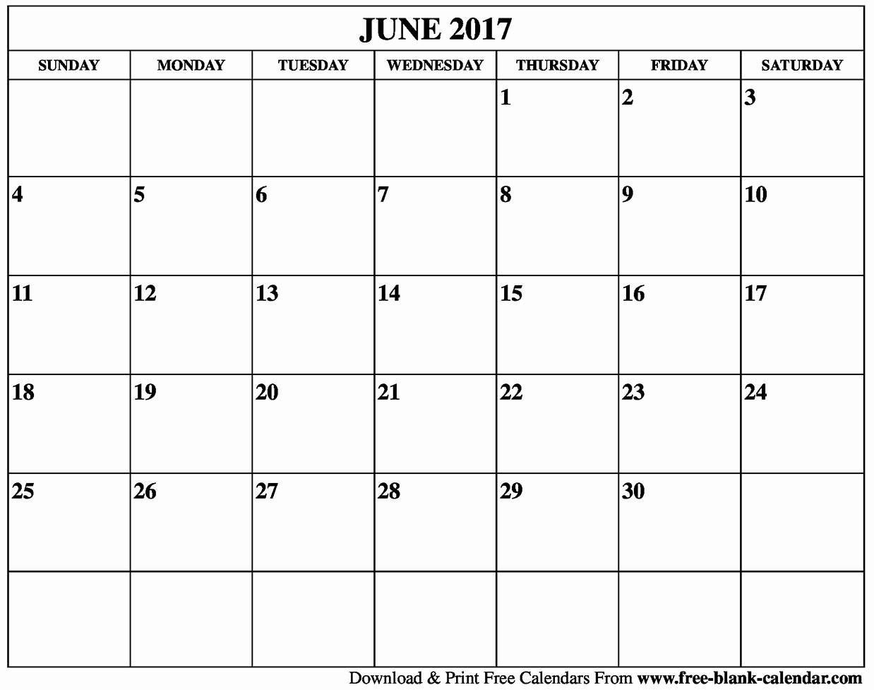 Free Blank Printable Calendar 2017 Fresh Blank June 2017 Calendar Printable