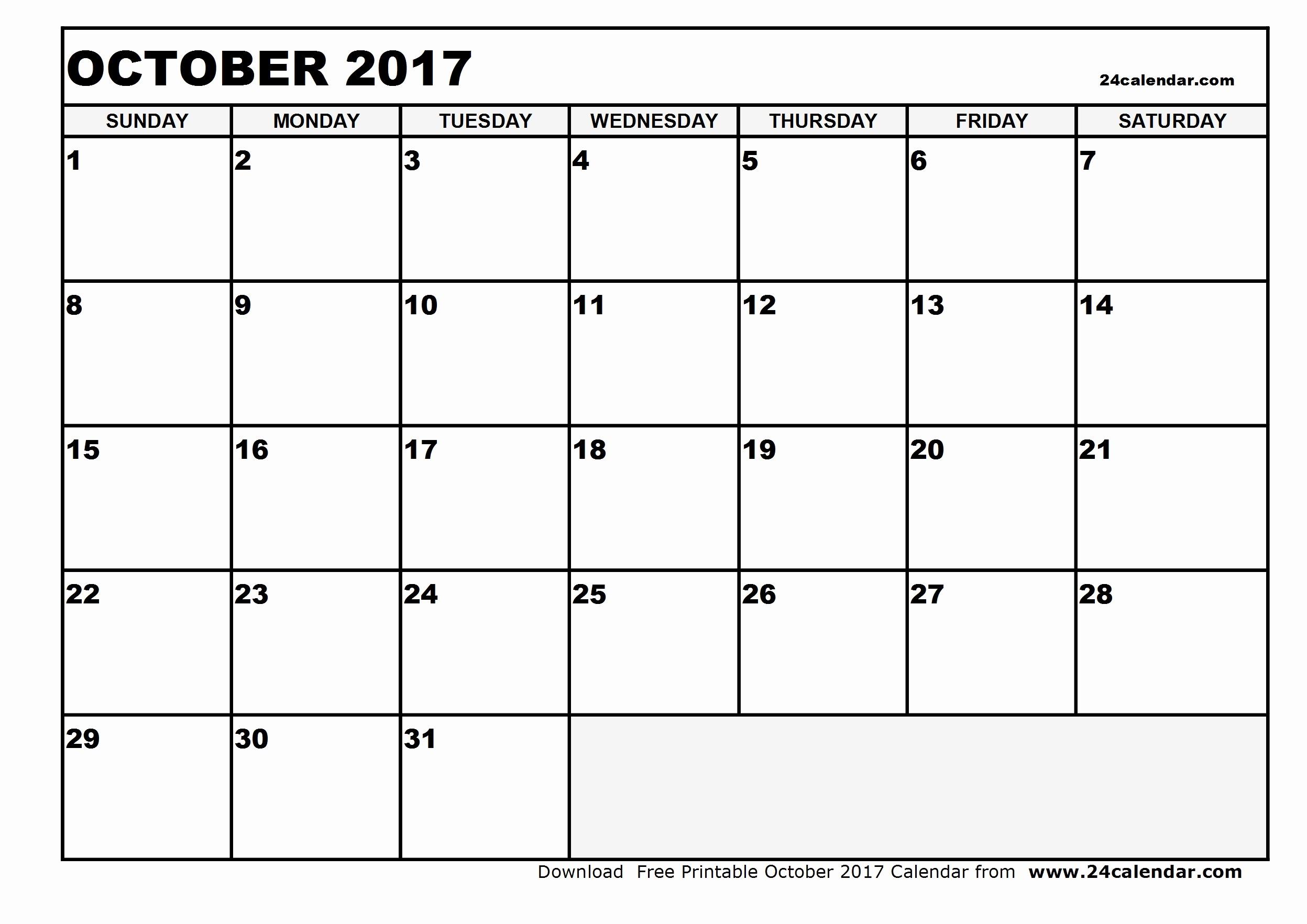 Free Blank Printable Calendar 2017 Lovely Blank October 2017 Calendar In Printable format