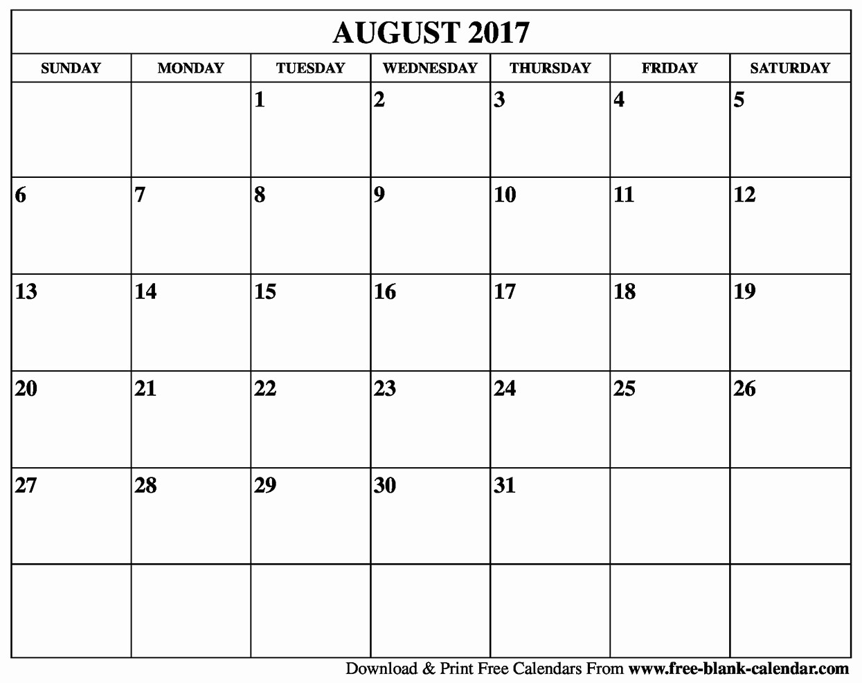 Free Blank Printable Calendar 2017 Luxury Blank August 2017 Calendar Printable