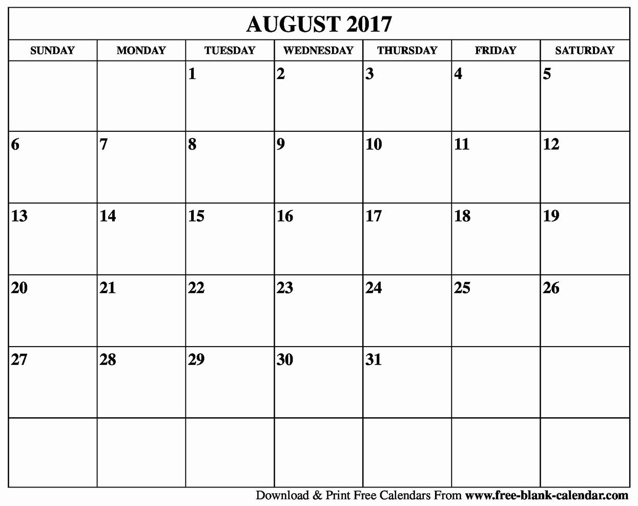 Free Blank Printable Calendar 2017 Luxury Blank August 2017 Calendar Printable
