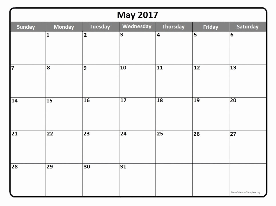 Free Blank Printable Calendar 2017 Luxury May 2017 Calendar