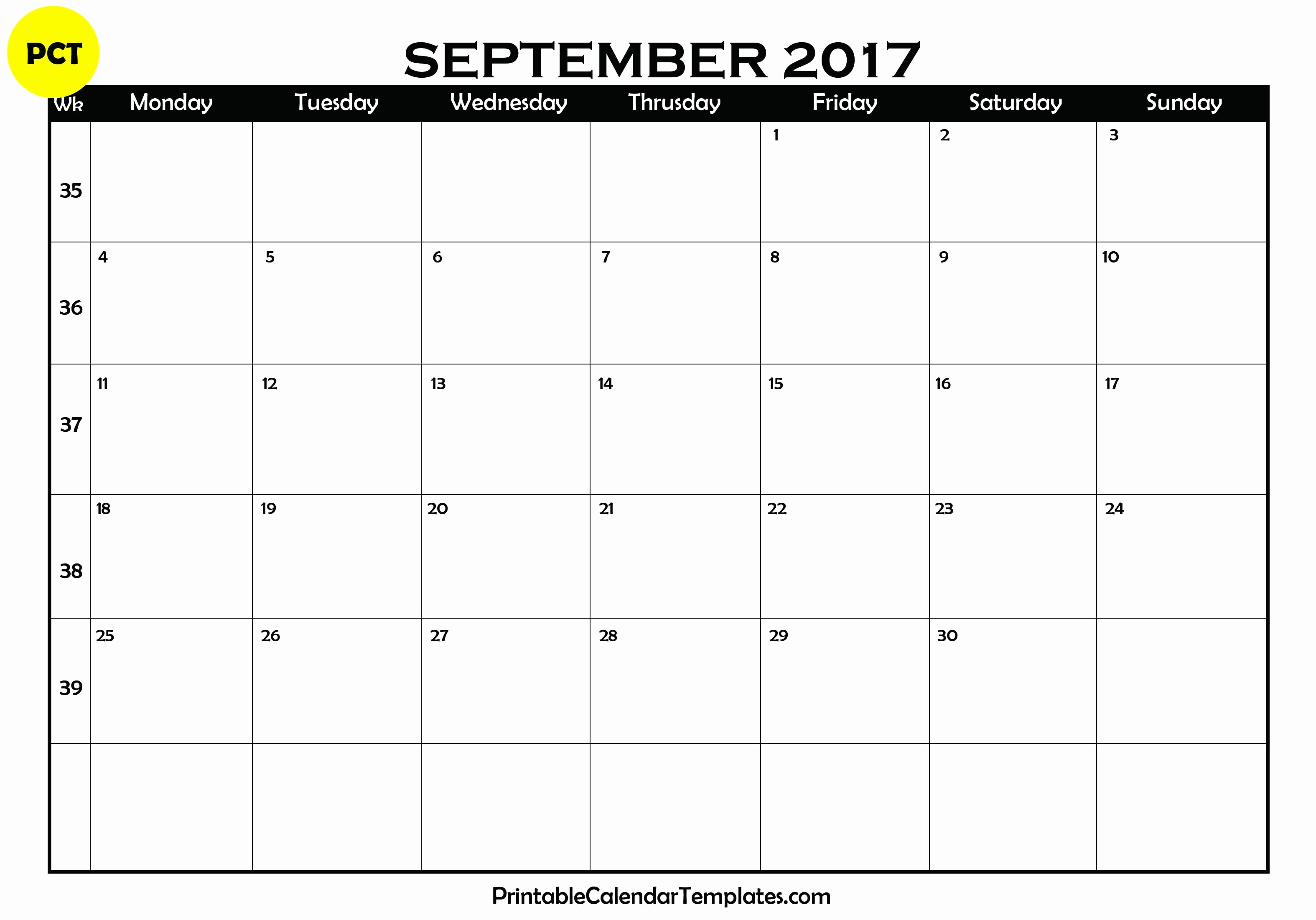Free Blank Printable Calendar 2017 Luxury September 2017 Printable Calendar