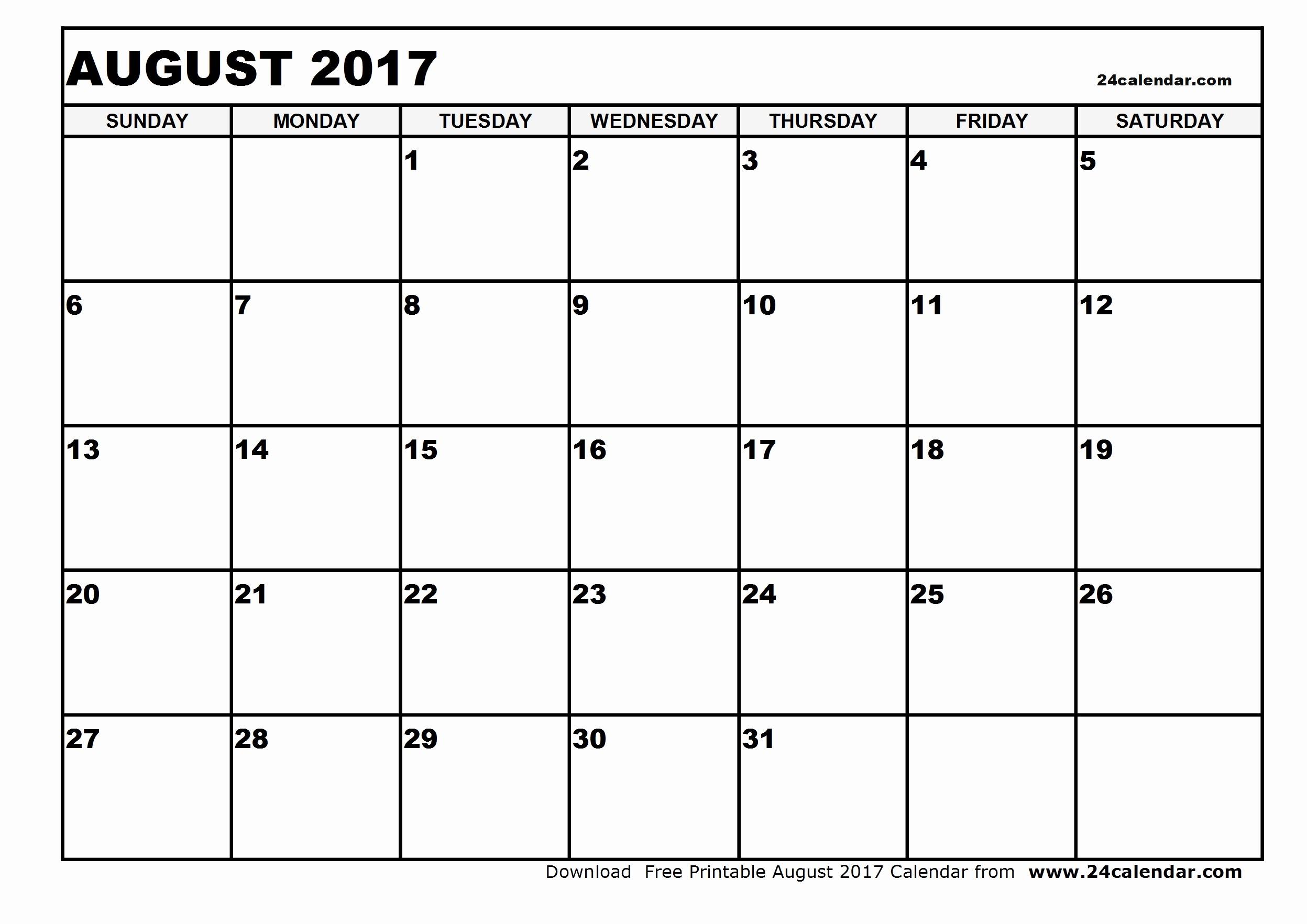 Free Blank Printable Calendar 2017 New Blank August 2017 Calendar
