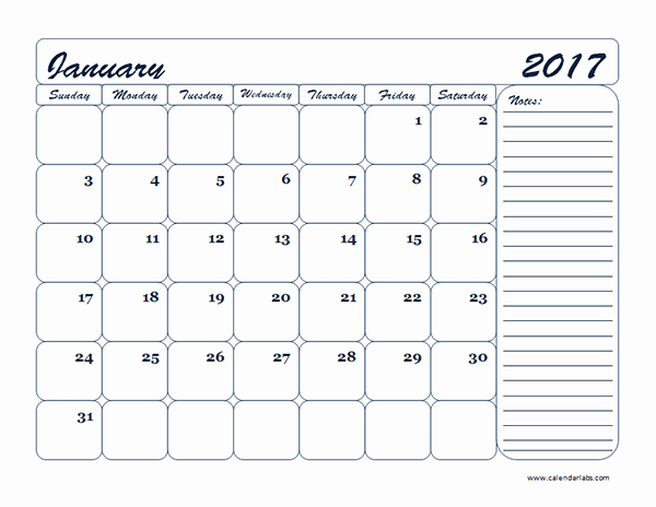 Free Blank Printable Calendar 2017 Unique 2017 Monthly Blank Calendar Template Free Printable