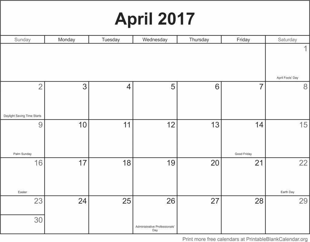 Free Blank Printable Calendar 2017 Unique April 2017 Printable Calendar Printable Blank Calendar