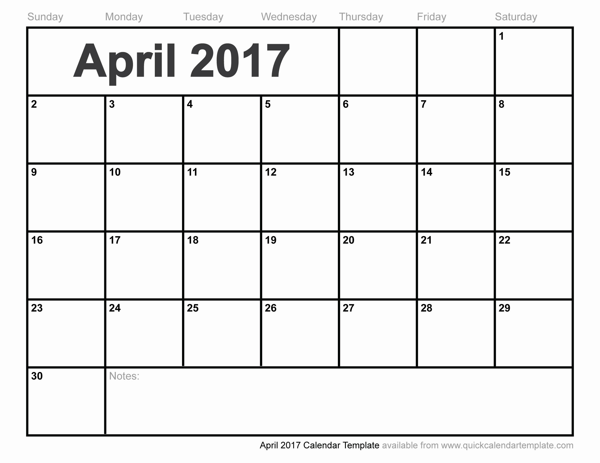 Free Blank Printable Calendar 2017 Unique Blank April 2017 Calendar