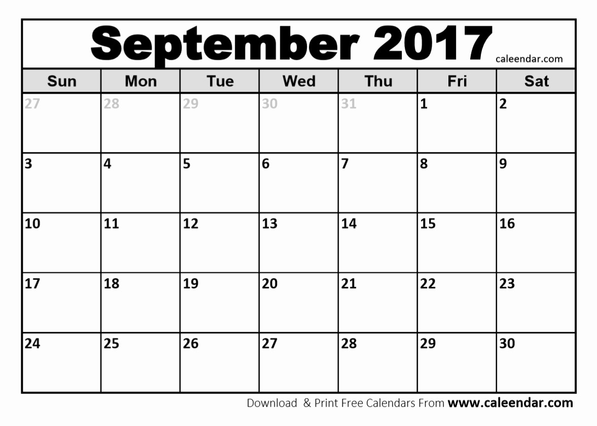 Free Blank Printable Calendar 2017 Unique September 2017 Calendar