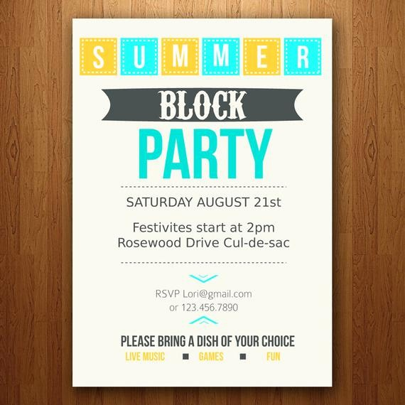 Free Block Party Flyer Template Elegant Items Similar to Customizable Summer Party Invitation