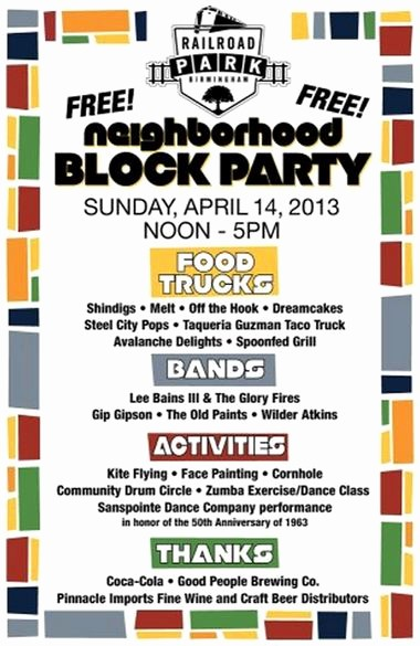 Free Block Party Flyer Template Inspirational Railroad Park Planning Neighborhood Block Party for April