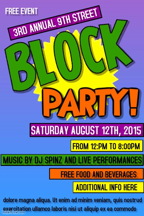 Free Block Party Flyer Template Unique Block Party Template