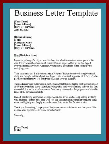 Free Business Letter Template Word Awesome Business Letter Template Word