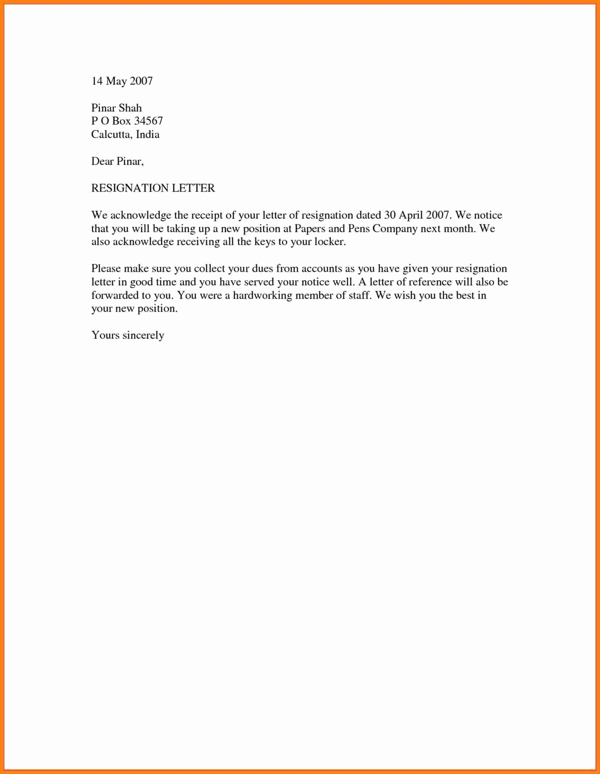Free Business Letter Template Word Best Of 18 Simple Resignation Letter Sample