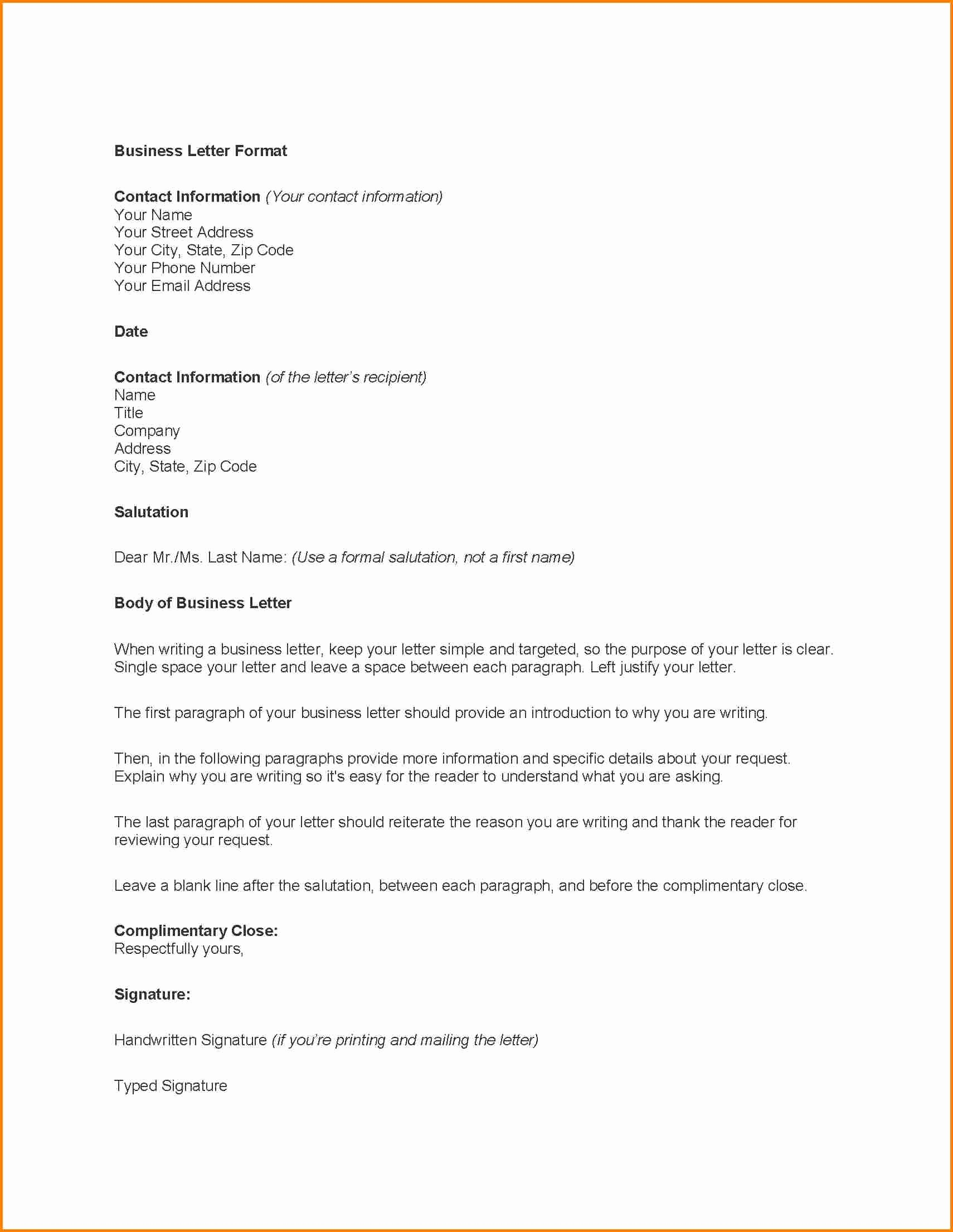 Free Business Letter Template Word Best Of Business Correspondence Template