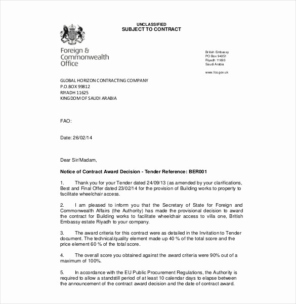 Free Business Letter Template Word New 10 Award Letter Templates Pdf Doc